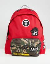 Aape By A Bathing Ape Backpack With Camo Pocket In Red