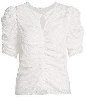 Frame Women's Shirred Keyhole Puff-Shoulder Top