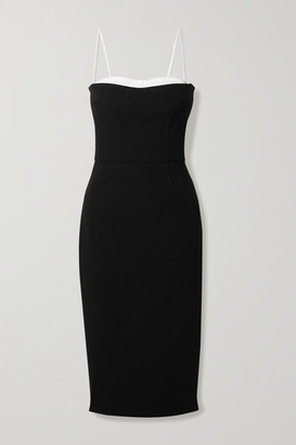 HANEY Meg Two-tone Layered Crepe Dress - Black