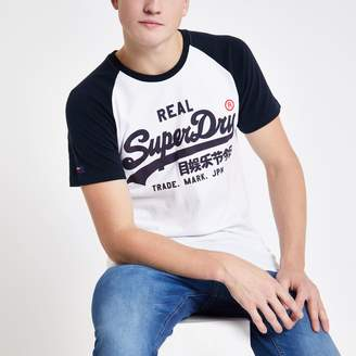 Superdry Mens River Island White logo print raglan T-shirt