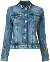 Philipp Plein floral embroidered denim jacket - women - Cotton/Spandex/Elastane - L
