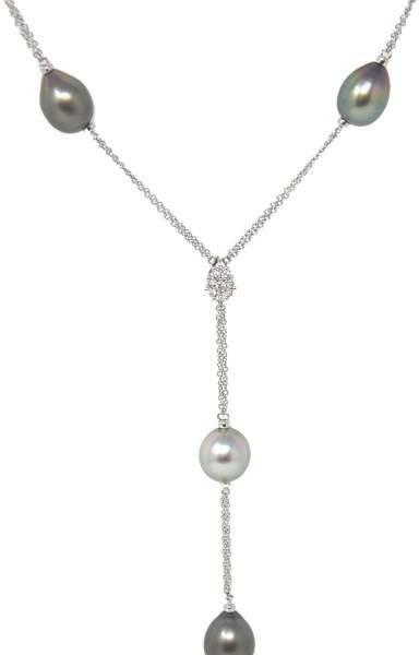 Damiani Ninfea 18K White Gold Tahitian Pearl & Diamond Drop Necklace