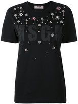 MSGM embellished logo print T-shirt - women - Cotton - S