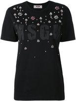 MSGM embellished logo print T-shirt - women - Cotton - XS