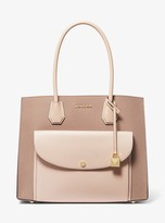 MICHAEL Michael Kors Mercer Extra-Large Two-Tone Pebbled Leather Pocket Tote Bag