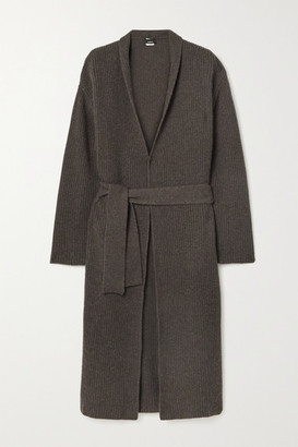 Akris Belted Ribbed Cashmere Cardigan - Dark brown