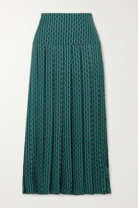 Cefinn Sienna Pleated Printed Crepe De Chine Midi Skirt