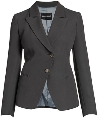 Giorgio Armani Viscose Cady Asymmetrical Single Breasted Jacket