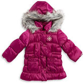 London Fog Girls 2-6x Faux Fur Trimmed Puffer Coat