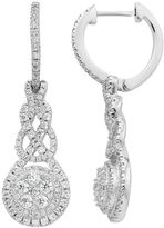 Diamond Essence Sterling Silver Cubic Zirconia Halo Drop Earrings