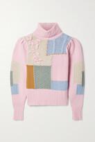 LoveShackFancy - Allan Appliqued Patchwork Knitted Turtleneck Sweater - Pink
