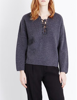 Vince Lace-up wool and cashmere-blend jumper