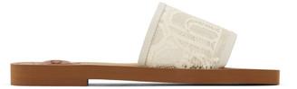 Chloé White Woody Logo Slides
