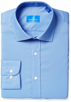 Nautica Men's Tech Classic Fit Spread Collar Dress Shirt
