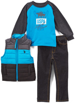 U.S. Polo Assn. Turquoise Puffer Vest Set - Infant & Toddler