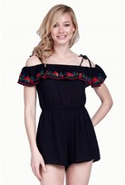 Select Fashion Fashion Womens Black Embroidered Ruffle Bardot Playsuit - size 6