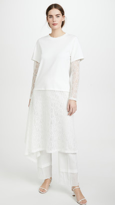 GOEN.J Double Layered Crochet Lace and Cotton Jersey Dress