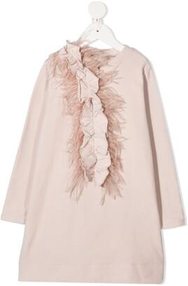 Douuod Kids Feather Details Shift Dress