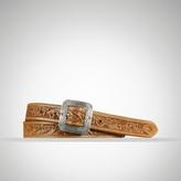 Tooled Leather Skinny Belt
