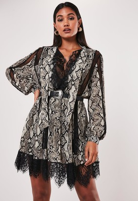 Missguided Grey Snake Print Chiffon Lace Trim Mini Dress