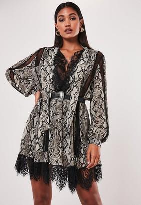 Missguided Grey Snake Print Chiffon Lace Trim Mini Dress