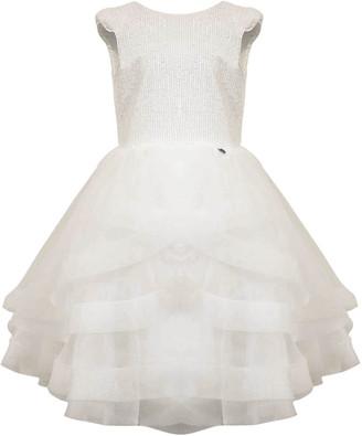 Nunzia Corinna Teen Cream Sequined Tulle Dress