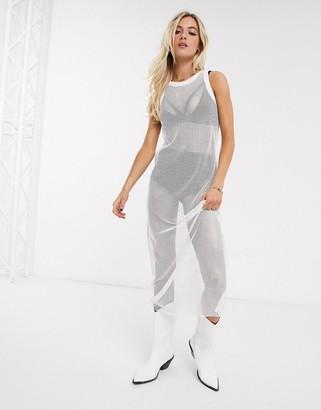 N. Ebonie Ivory midi mesh singlet dress