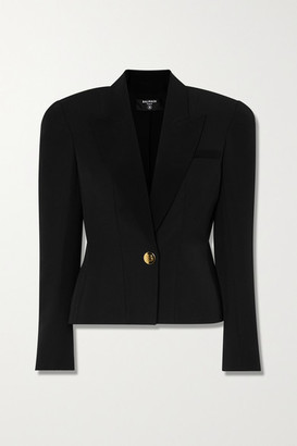 Balmain Silk Satin-trimmed Peplum Wool Blazer - Black