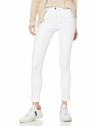 Pieces Women's PCDELLY MW Crop Slit B300 BWH/NOOS Skinny Jeans
