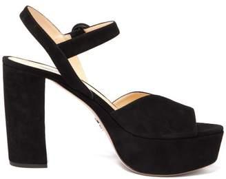 Prada Platform Suede Sandals - Womens - Black