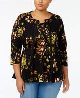 Melissa McCarthy Trendy Plus Size Lace-Up Peplum Top