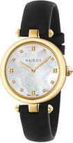Gucci Women's Swiss Diamantissima Black Leather Strap Watch 32mm YA141404