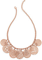 Charter Club Rose Gold-Tone Cutout Charm Necklace