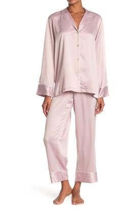 Natori Satin Long Sleeve Shirt & Pants 2-Piece Pajama Set