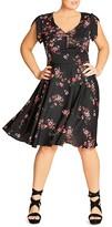 City Chic Delicate Flower Print Dress