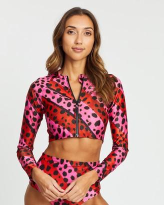 House of Holland Bright Cheetah Stripe Rash Top
