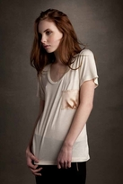 LnA Silk Pocket Tee in Pearl and Nude