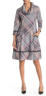 Robbie Bee Plaid Cowl Neck Swing Dress