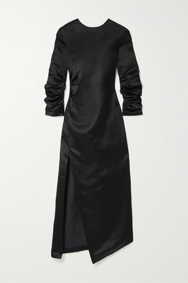 A.W.A.K.E. Mode Gathered Cupro And Linen-blend Satin Midi Dress - Black