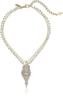 Badgley Mischka Rhinestone Leaf Mini Pendant Necklace
