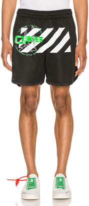 Off-White Off White Harry The Bunny Mesh Shorts in Black & Brillian | FWRD