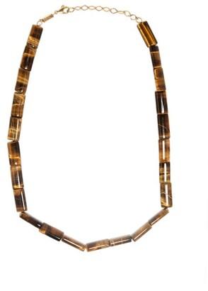 Azlee Tiger-eye & 18kt Gold Beaded Necklace - Orange Multi