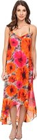 Maggy London Women's Smudge Daisy Printed Chiffon Hi Low Maxi