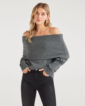 7 For All Mankind Cashmere Cowl Neck Sweater in Charcoal
