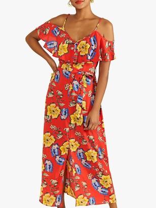 Yumi Floral Print Cold Shoulder Frill Maxi Dress