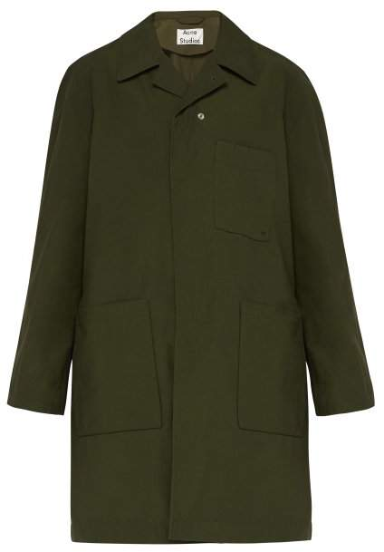 Acne Studios Asymmetric Front Cotton Overcoat - Mens - Khaki