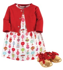 Little Treasure Baby Girls Glitzmas Cardigan, Dress and Shoe Set, Pack of 3
