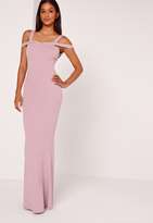 Missguided Strappy Bardot Fishtail Maxi Dress Purple