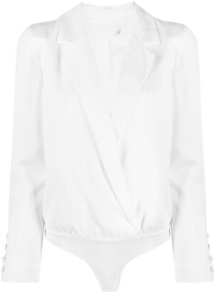 Jonathan Simkhai Long-Sleeve V-Neck Bodysuit