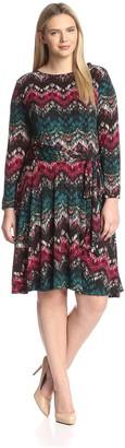 Melissa Masse Plus Women's Fit & Flare Print Dress